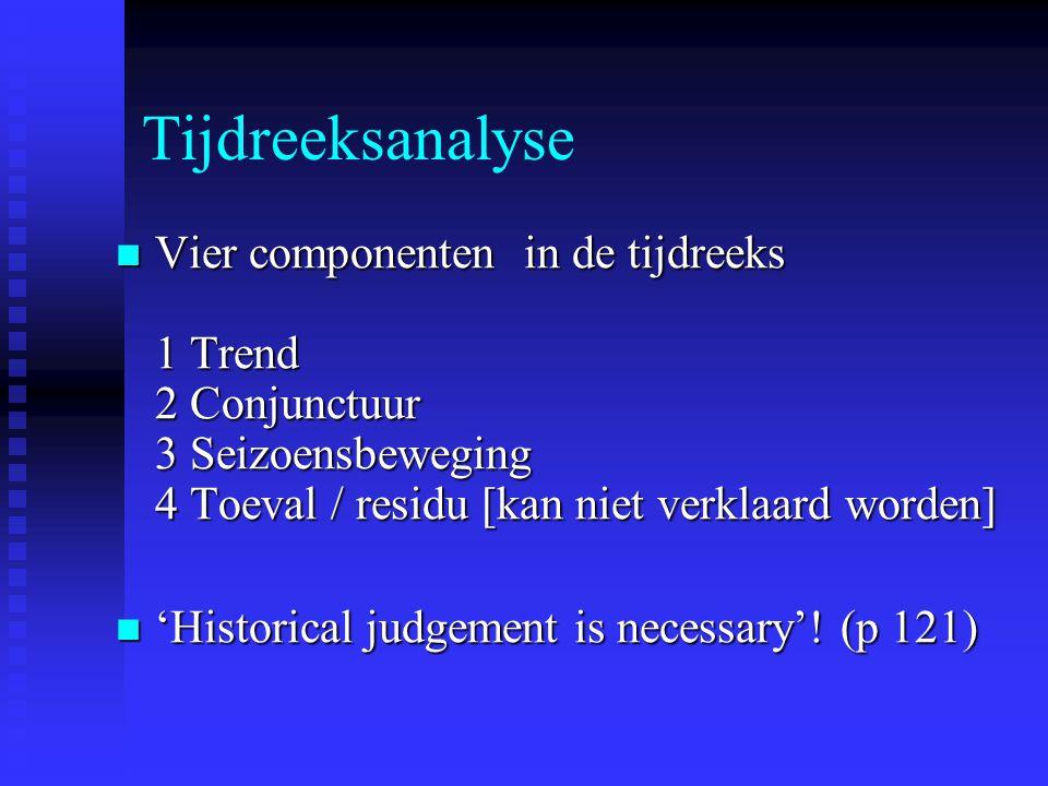 Tijdreeksanalyse Vier componenten in de tijdreeks 1 Trend 2 Conjunctuur 3 Seizoensbeweging 4 Toeval / residu [kan niet verklaard worden]
